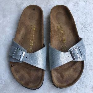 Birkenstock Silver Glitter Sandals Size 10 Narrow
